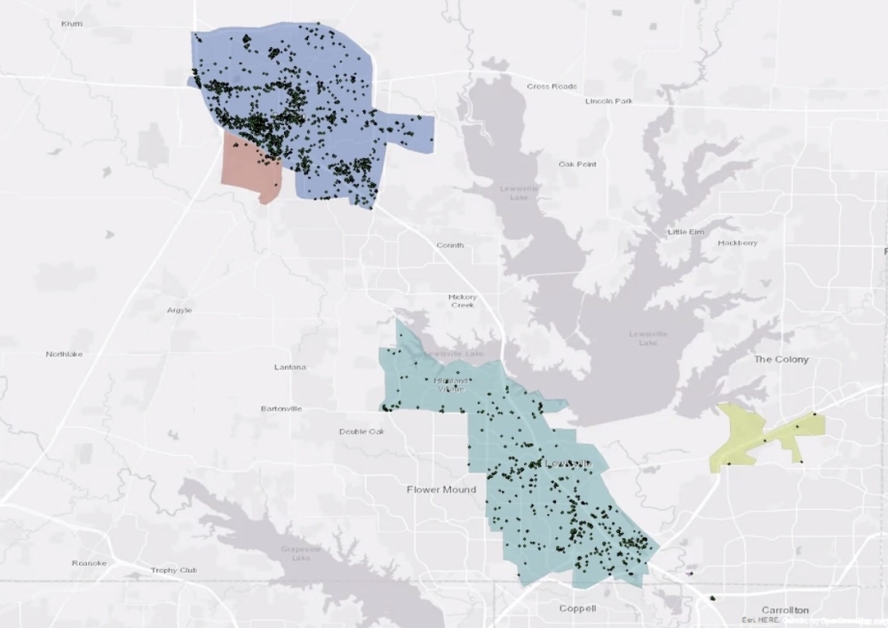 This map shows the location where each rider using the GoZone on-demand rideshare service was picked up between Sept. 7-17. Riders may go anywhere in the Highland Village/Lewisville zone or anywhere in the Denton zone. Rides between the two zones are available only on Sundays with the commuter rail line is not in service. (Courtesy Denton County Transportation Authority)