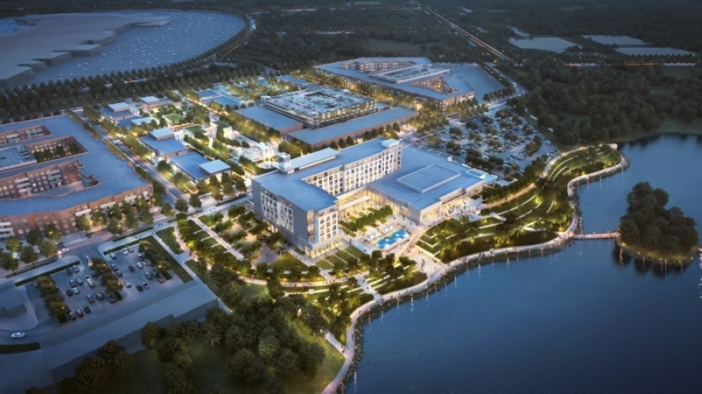 Changes to the site plans, to be released in the fall, will include placing greater emphasis on improved sight lines and accessibility to the lake for hotel guests and other visitors. (Courtesy Katy Boardwalk District)