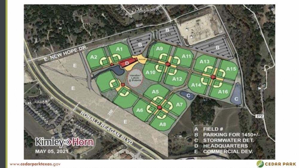 Perfect Game plans to build 16 new turf baseball and softball fields with seating and amenities on 80 acres northeast of RM 1431 and Ronald Reagan Boulevard. (Screenshot courtesy city of Cedar Park)