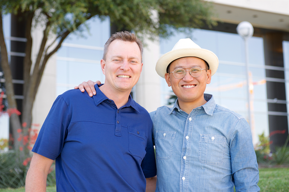 Brad Herrmann (left) founded software company Text-Em-All with business partner Hai Nguyen (right) in 2005. The Frisco-based business has since grown to employ more than 40 people.