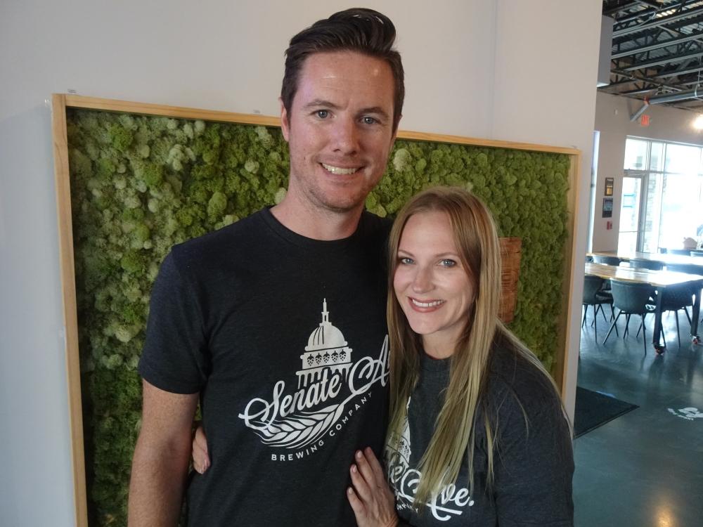 Andrew and Michelle Mitcham opened Senate Avenue Brewing Company in October 2020. (Emily Jaroszewski/Community Impact Newspaper)