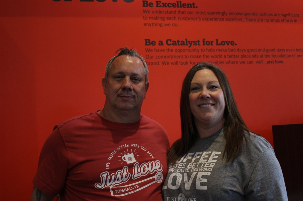 Co-owners John and Tamara Hamilton opened Just Love Coffee Cafe in November 2020. (Chandler France/Community Impact Newspaper)