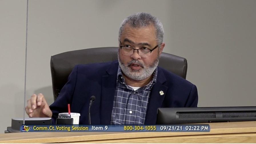 Screenshot of Jeff Travillion speaking at a meeting