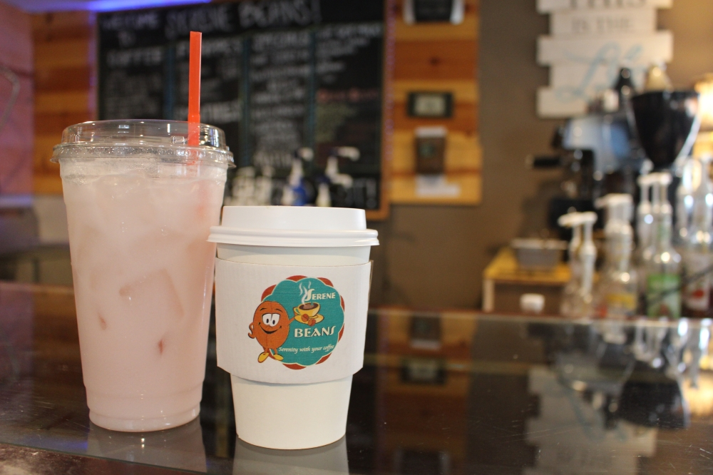 The menu at Serene Beans, which includes lattes, frappes, teas, smoothies, and other hot and iced beverages, was recently expanded to include matcha lattes and Italian cream sodas. (Photo by Morgan Theophil/Community Impact Newspaper)