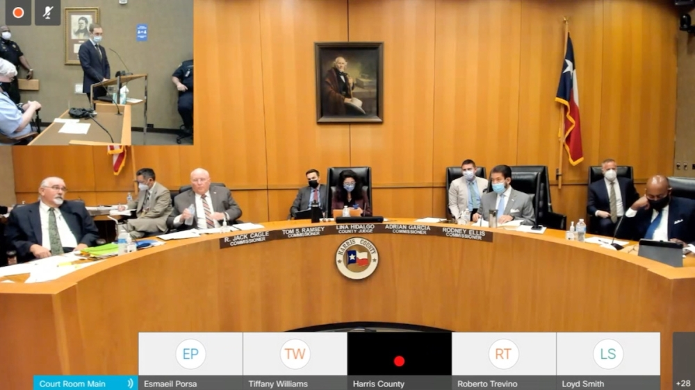 On Sept. 28, Harris County Administrator David Berry presents information to the Harris County Commissioners' Court after a public hearing on the fiscal year 2021-22 tax rate. (Screenshot via Zoom)