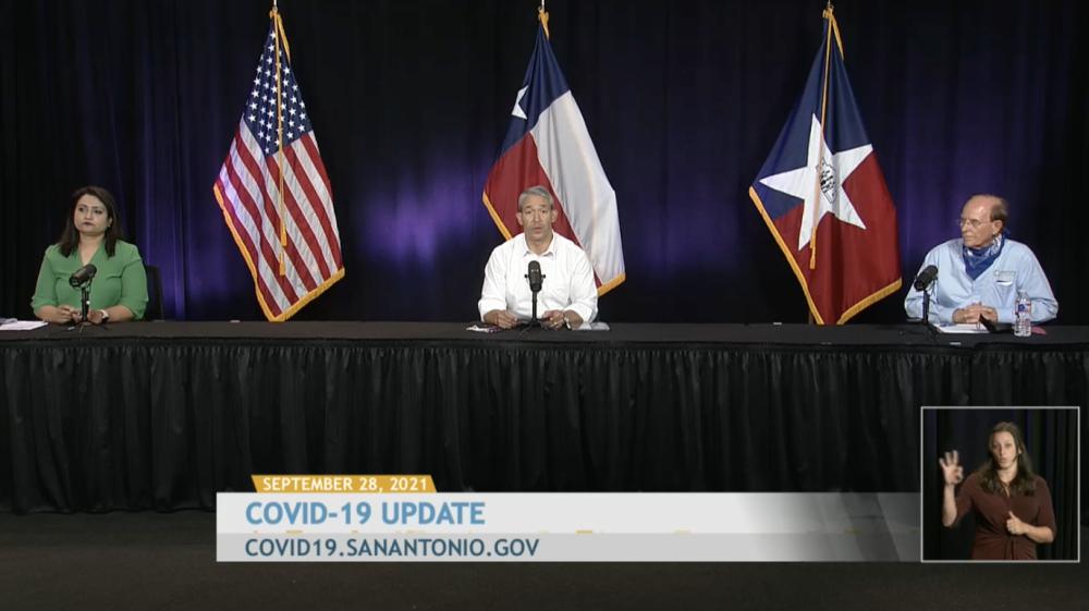 San Antonio Mayor Ron Nirenberg (center) leads a COVID-19 community briefing Sept. 28. (Courtesy city of San Antonio)
