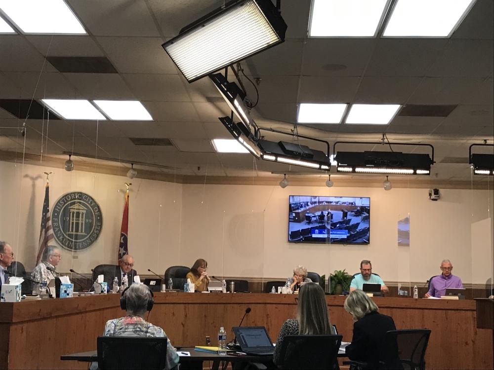 The Franklin Board of Mayor and Aldermen met Sept. 28. (Wendy Sturges/Community Impact Newspaper)