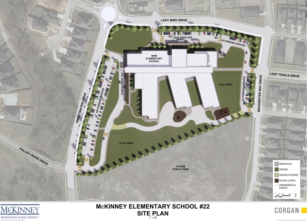 McKinney ISD's Elementary School No. 22 will sit on 12 acres of land bordered on the south by an 8-acre city park. (Courtesy Corgan)