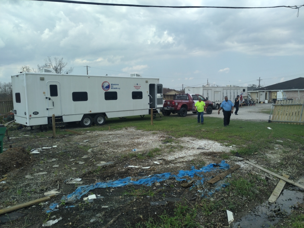 The nonprofit provides showers, bunks and trailers to government and other nonprofits providing disaster relief. (Courtesy Missions on Wheels)