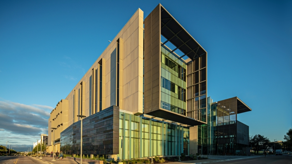 One of the university's largest investments in tech infrastructure was a 200,000-square-foot, $110 million engineering and computer science building that opened in 2018. (Courtesy The University of Texas at Dallas)