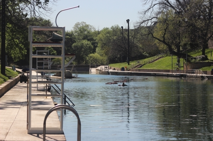 Barton Springs Pool was empty during March's stay-at-home order. (Community Impact Newspaper staff)