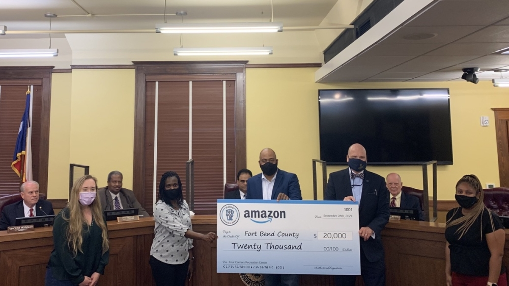 Fort Bend County Commissioners Court unanimously accepted a $20,000 donation from Amazon during a Sept. 28 meeting. (Rynd Morgan/Community Impact Newspaper)