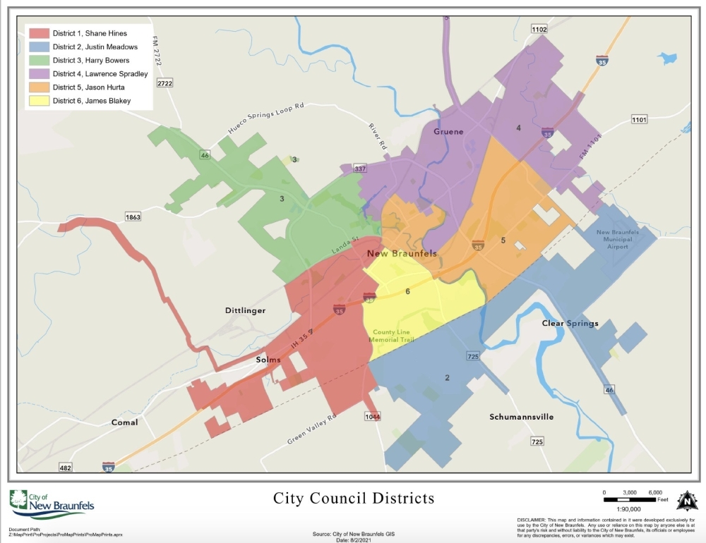 The city, committee and consultants will work to determine how districts will be reshaped. (Courtesy City of New Braunfels)