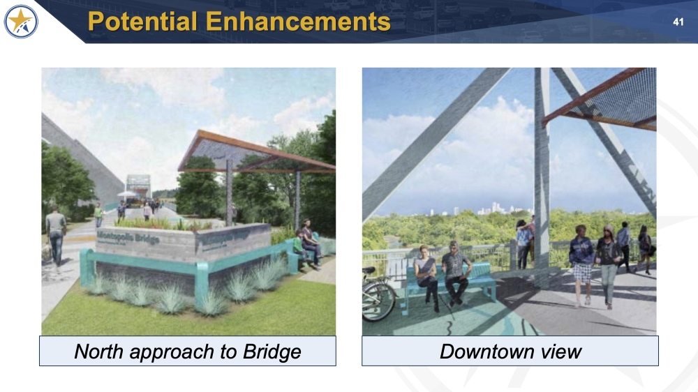 Proposed enhancements to the bridge include an updated entrance on the north side. The bridge is a historical landmark that was built in 1938 and closed to vehicular traffic in 2018. (Courtesy Central Texas Regional Mobility Authority)
