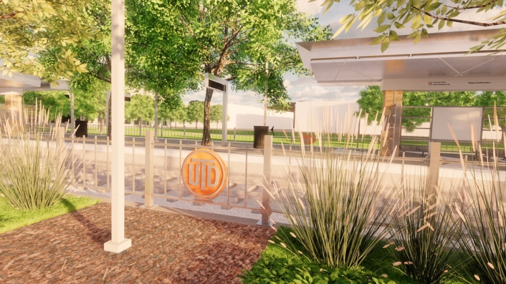 The UT Dallas station will include connections to The University of Texas at Dallas campus, apartments, restaurants, future developments, the Veloweb Hike & Bike Trail and DART buses, according to DART. (Rendering courtesy Dallas Area Rapid Transit)