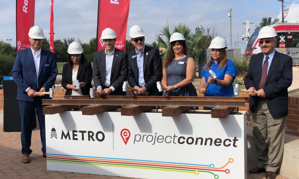 The project will boost train frequency and is scheduled to be complete in fall 2022. (Benton Graham/Community Impact Newspaper)