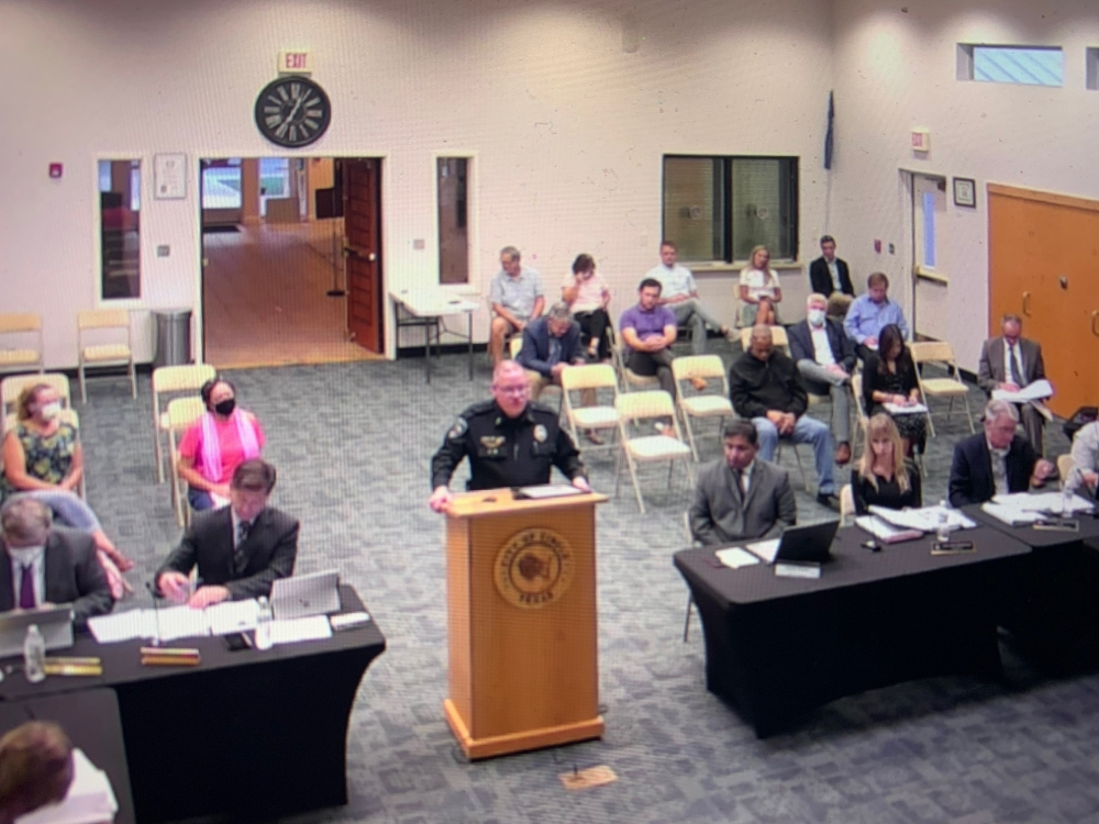 Cibolo Police Chief Bryan Hugghins speaks to city council at the Sept. 28 meeting. (Screenshot via city of Cibolo)