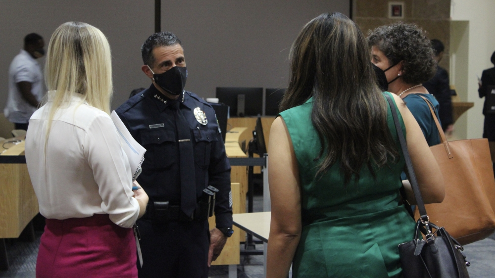 APD Chief Joseph Chacon spoke with several City Council members following his appointment Sept. 30. (Ben Thompson/Community Impact Newspaper)