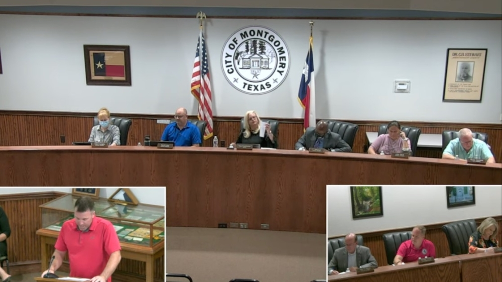 Bill Clevenger, the owner of food truck Texas Twist and Shakes, discussed Montgomery's food truck ordinances and announced his candidacy for mayor at Montgomery City Council's Sept. 30 workshop. (Screenshot via Montgomery City Council livestream)