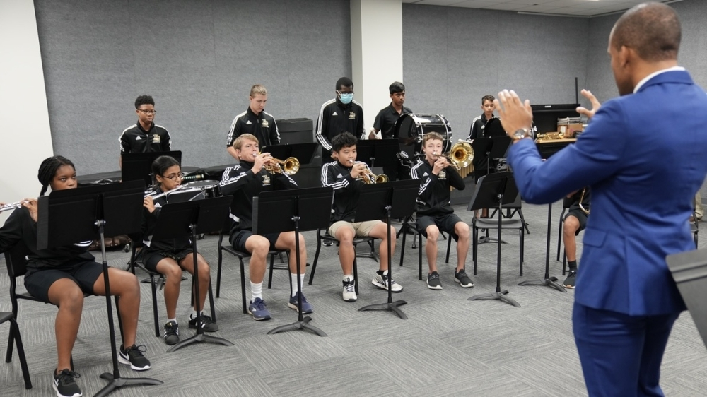 Marquis Wincher, band director of Fort Bend Christian Academy, leads rehearsal in the school's newly renovated band room. (Courtesy Fort Bend Christian Academy)