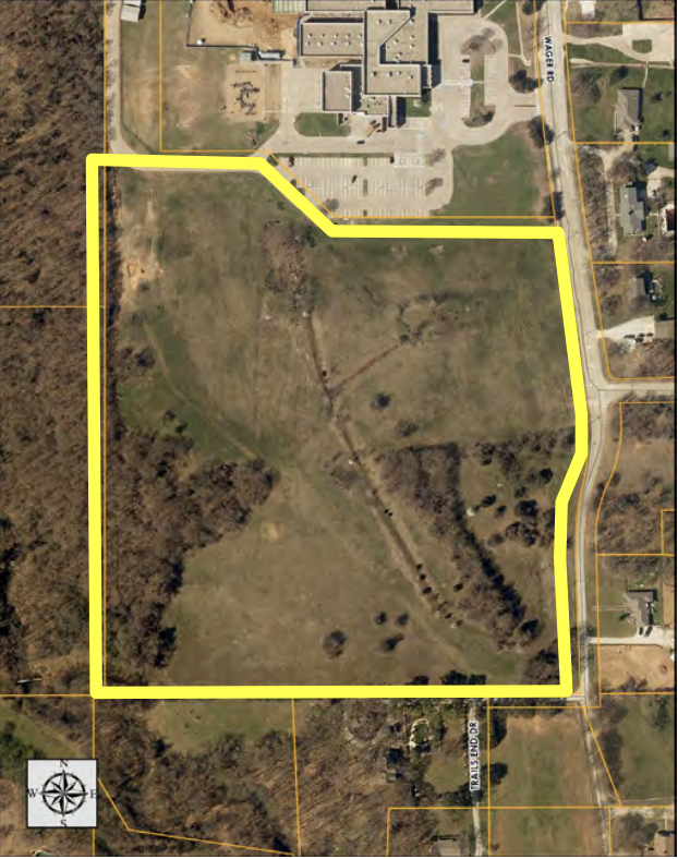 The LISD property near Vickery Elementary school on Wager Road spans nearly 22.75 acres. (Courtesy Town of Flower Mound)