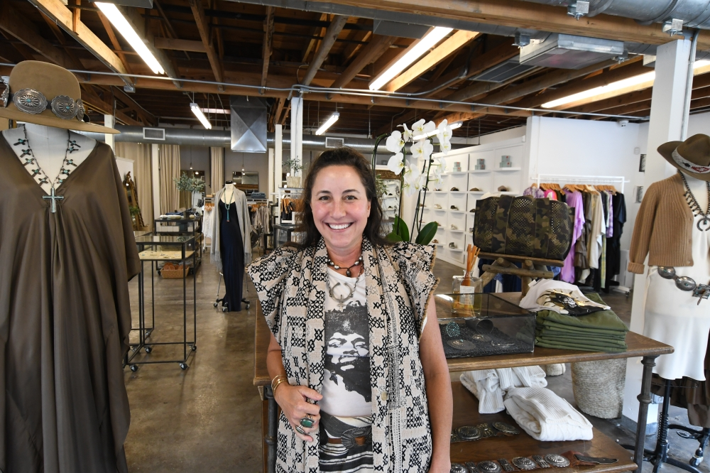 Christina Mitchell has owned Abejas Boutique since 1996. The current location is housed in a former cement factory in Houston. (Hunter Marrow/Community Impact Newspaper)