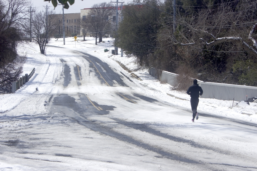 person on snowy road