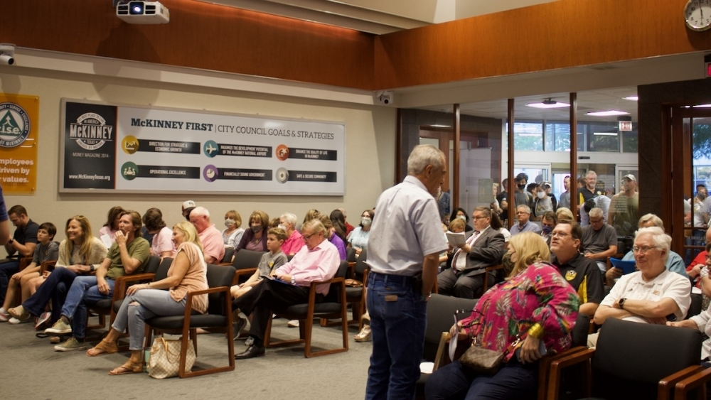 It was standing room only at the McKinney City Council meeting Oct. 4. (Miranda Jaimes/Community Impact Newspaper)