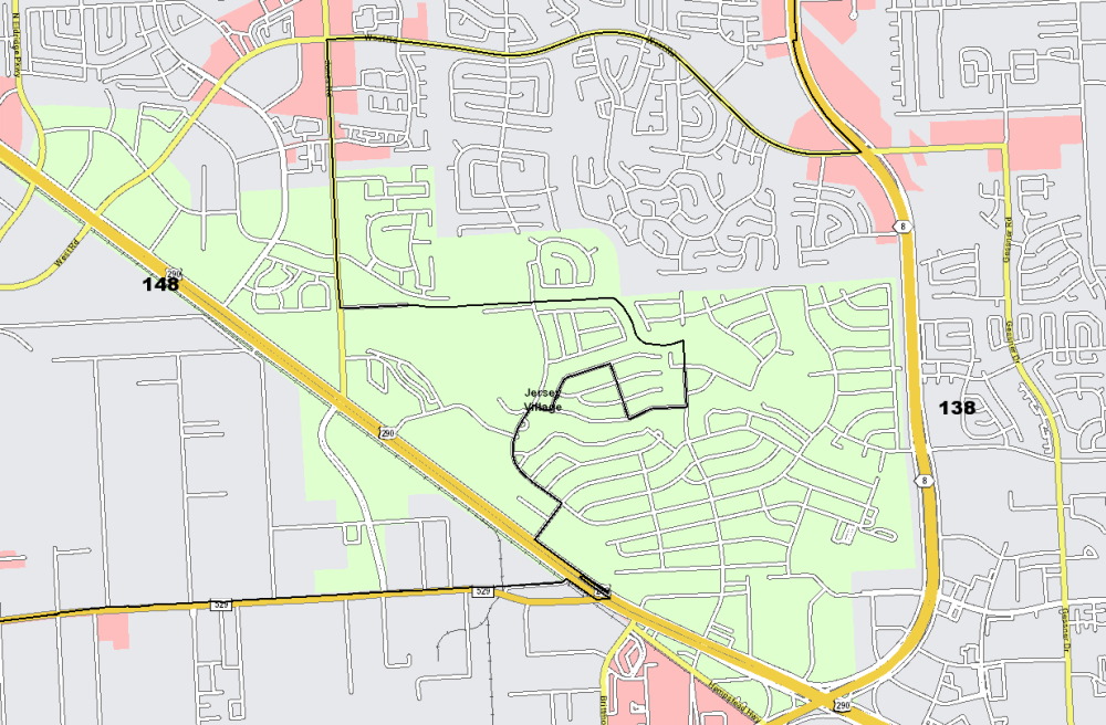 The proposed map splits Jersey Village between House districts 138 and 148. (Screenshot courtesy Texas House)