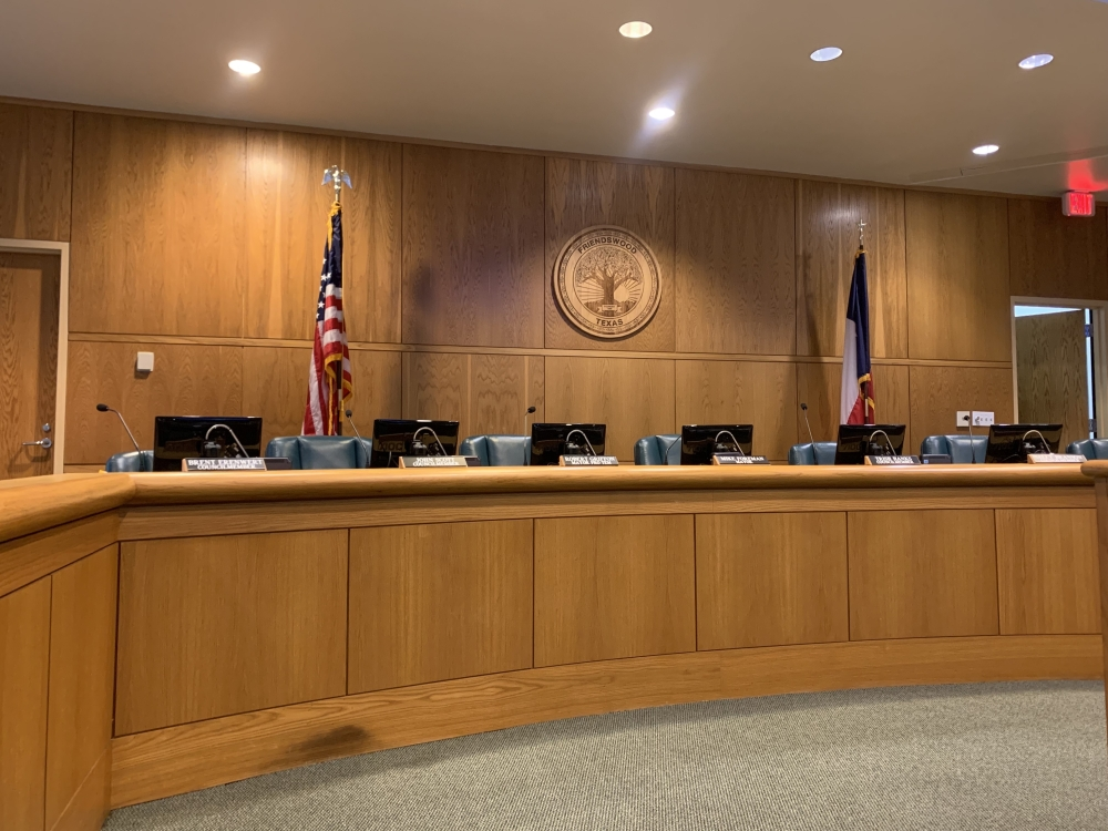 Assistant City Manager Steven Rhea presented details of the lighting project at the Friendswood City Council meeting Oct. 4. (Sierra Rozen/Community Impact Newspaper)