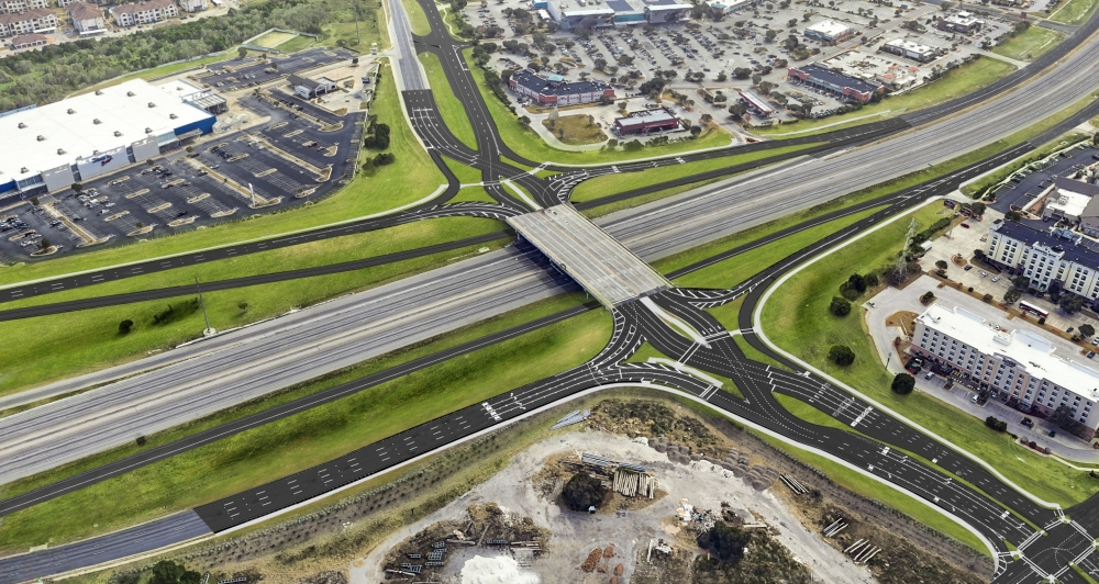 The design, pictured above, is also being implemented as a part of the I-35 at Williams Drive project. (Courtesy Texas Department of Transportation)