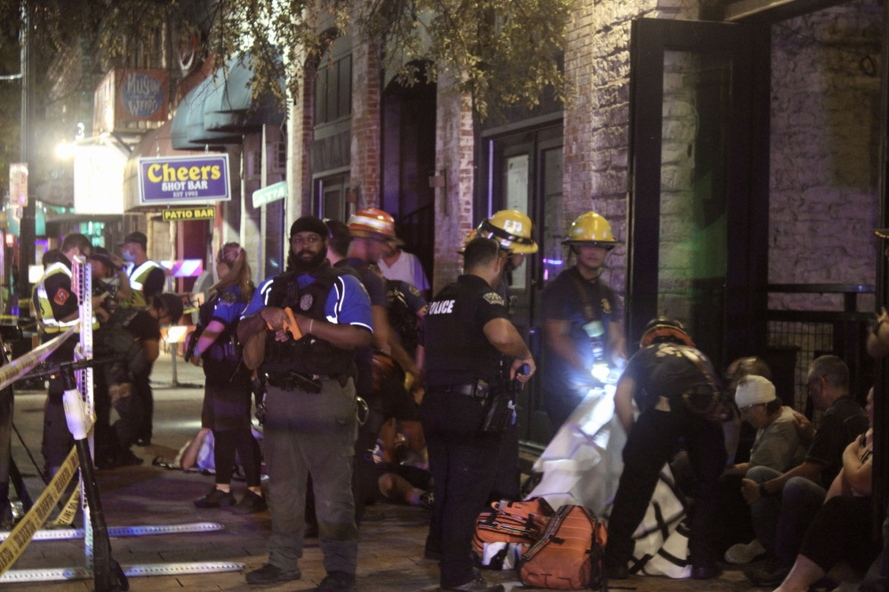 First responders conducted a live training exercise along Sixth Street in August. (Ben Thompson/Community Impact Newspaper)