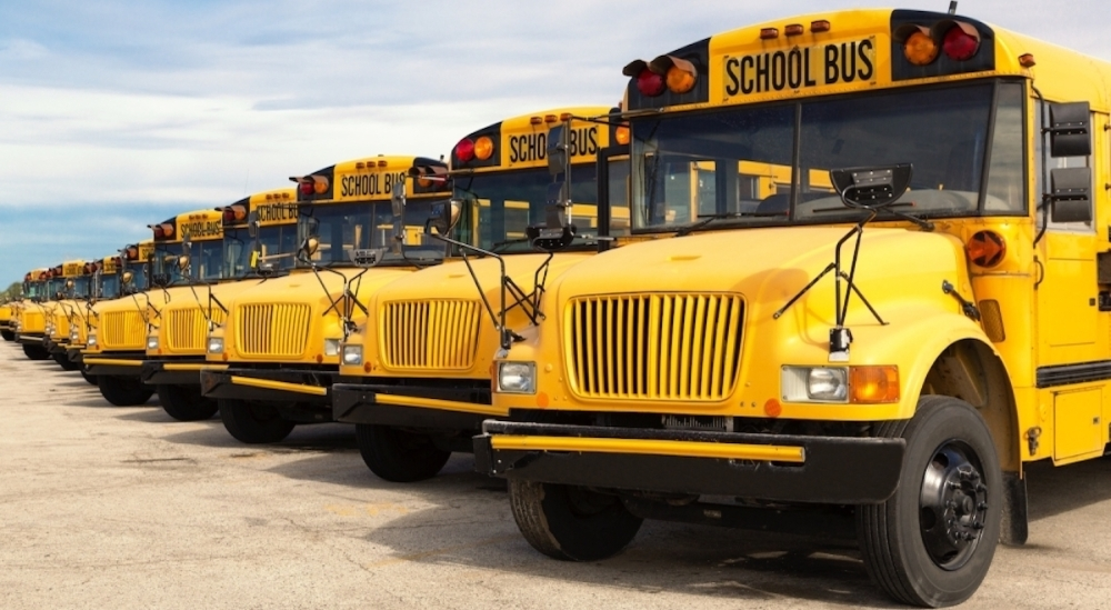 Yellow school busses lined up.