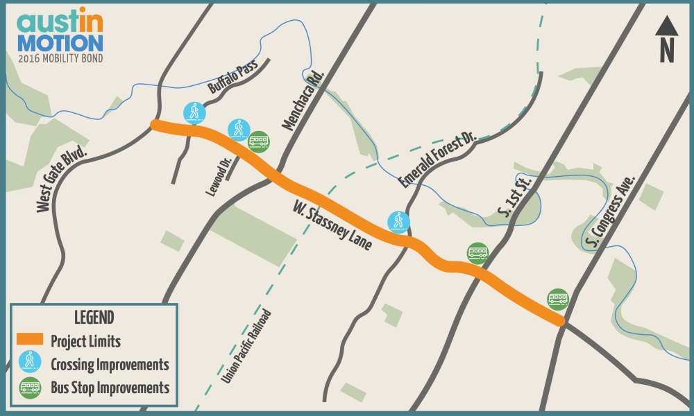 The second phase of the Stassney Lane project involves improved pedestrian crossings and bus stops. (Courtesy Austin Transportation Department)