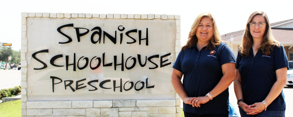Ann Mena, left, owner of Spanish Schoolhouse McKinney Campus with Campus Director Maria Del Rocio Diaz. Diaz has been the campus director since 2012. (Karen Chaney/Community Impact Newspaper)