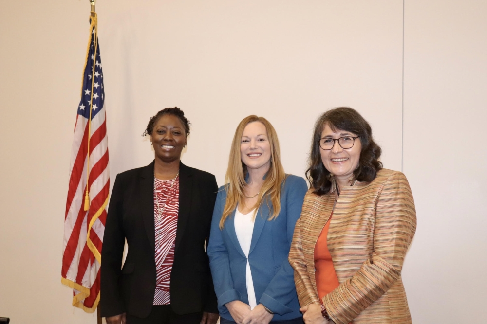 The candidates for the at-large position on the Buda City Council are, from left, LaVonia Horne-Williams, Emily Jones and Virginia Jurika. (Zara Flores/Community Impact Newspaper).