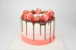 The cake pictured is a custom raspberry cake. Prices for customized cakes start at $75. (Courtesy Whipped Bakery & Cafe)