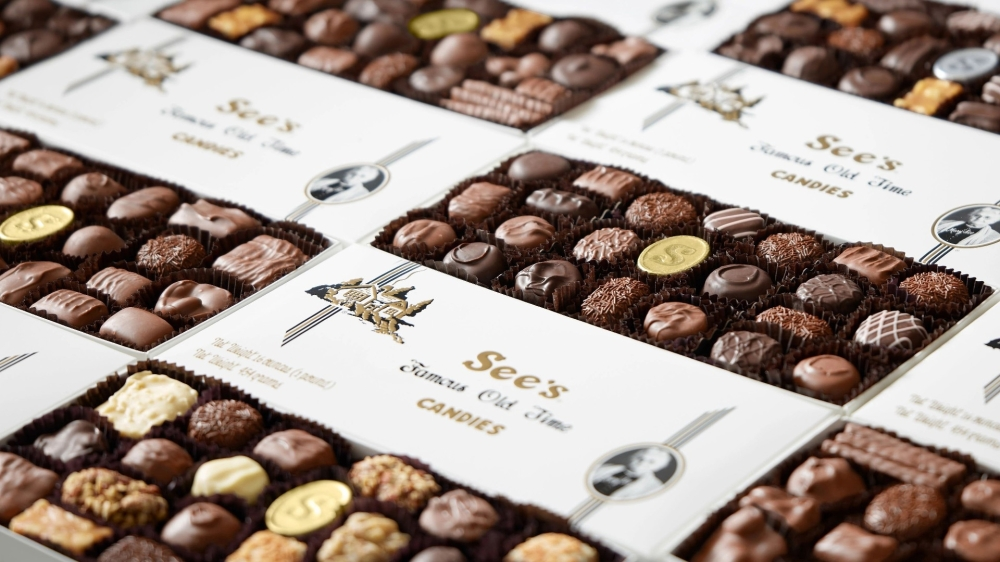 Boxes of chocolate candies.