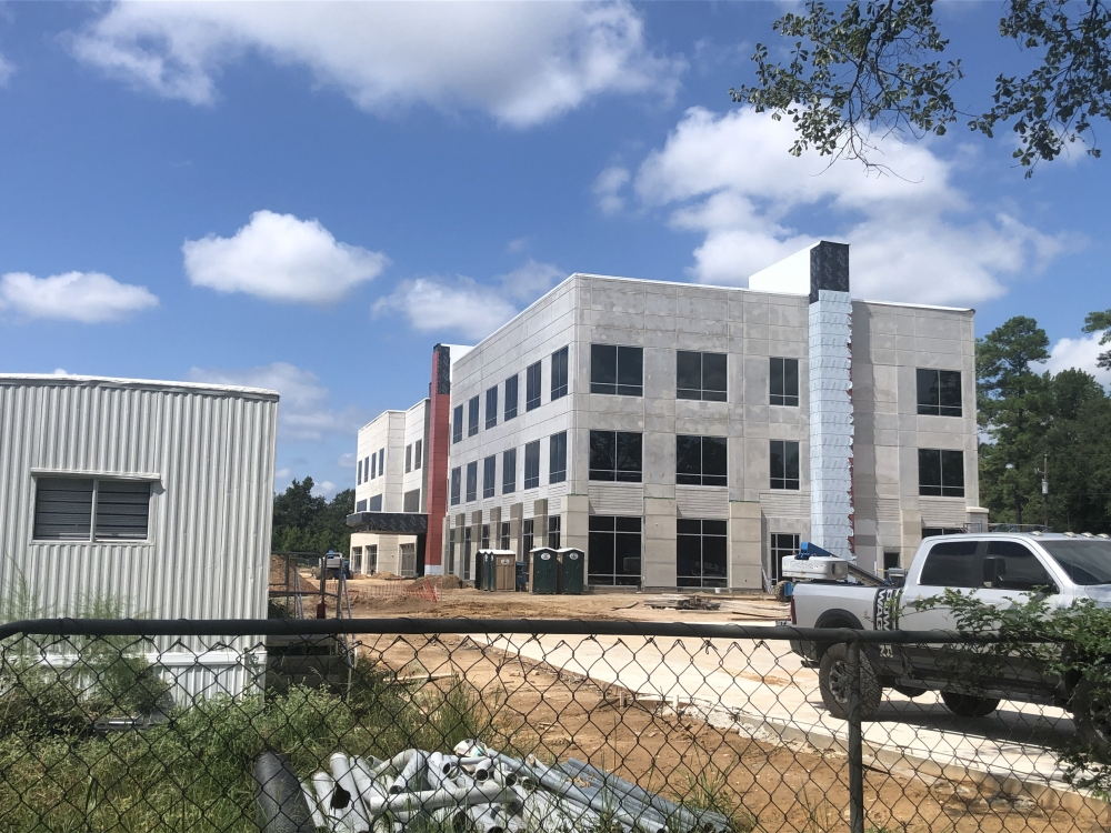 A medical building is under construction at Vision Park in Shenandoah. (Andrew Christman/Community Impact Newspaper)