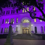 In recognition of Domestic Violence Awareness Month and in honor of all victims and survivors of domestic violence, several downtown buildings, including San Antonio City Hall, the Henry B. Gonzalez Convention Center and the Tower of the Americas, will be lit in purple during October. The city is bolstering enforcement of outstanding domestic violence warrants. (Courtesy city of San Antonio)