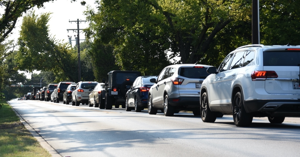Traffic on Continental Boulevard in Southlake backs up at the Davis Boulevard intersection. A project to improve the intersection has been recommended for funding as part of the transportation bond on the ballot in Tarrant County Nov. 2. (Steven Ryzewski/Community Impact Newspaper)