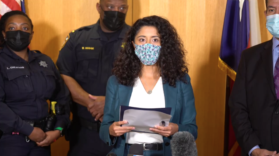 """Lina Hidalgo discusses the """"Clean Streets, Safe Neighborhoods"""" initiative at an Oct. 12 press conference. (Screenshot courtesy Harris County Judge's Office)"""