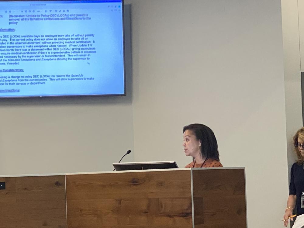 Seele Elementary School Principal Miriam Blanton spoke before the NBISD board of trustees Oct. 11. (Eric Weilbacher/Community Impact Newspaper)