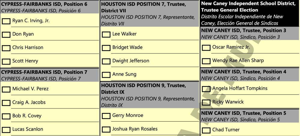 """A sample ballot for elections in Harris County lists Houston ISD candidate Mac Walker's name as his birth name, """"Lee Walker,"""" despite the candidate filing as Mac Walker with HISD. (Screenshot Courtesy Harris Votes)"""