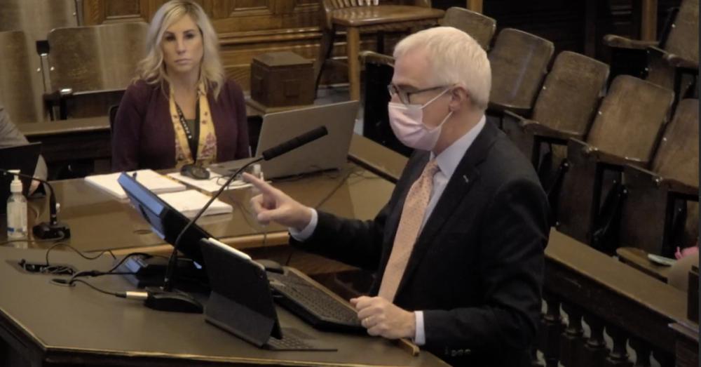 Dr. Matt Richardson presenting at Denton County Commissioners Court.
