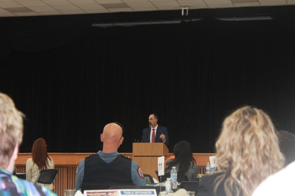 Friendswood ISD Superintendent Thad Roher address the attendees. (Sierra Rozen/Community Impact Newspaper)
