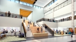 A rendering of a flexible space inside Panther Creek High School, which includes learning stairs and a collaboration board. The school's attendance zones are drawn to pull from Lone Star and Memorial high schools. (Courtesy Corgan)