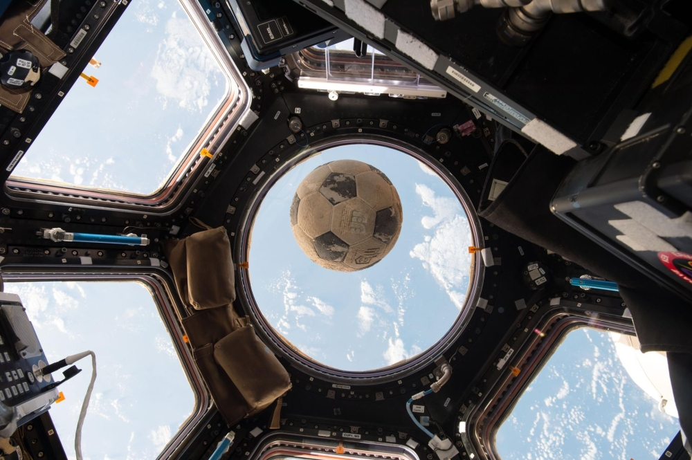 This Clear Creek ISD soccer ball—signed by the daughter of Ellison Onizuka, one of the astronauts aboard the Space Shuttle Challenger—was recovered from the accident debris. In 2016, astronaut Shane Kimbrough took the ball with him aboard the International Space Station and presented it to members of the Onizuka family in late 2017. (Courtesy NASA)