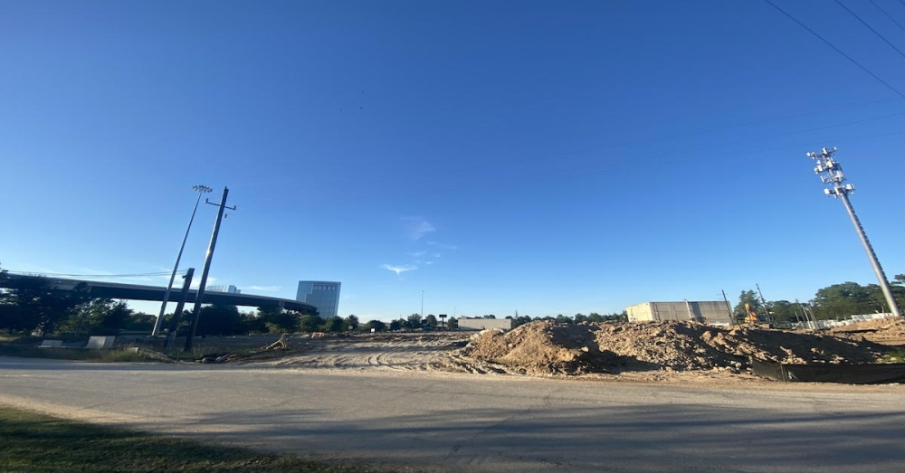 The building on the corner of Lane Lane and I-45 is expected to be about 80,000 square feet, according to city documents. (Ally Bolender/Community Impact Newspaper)