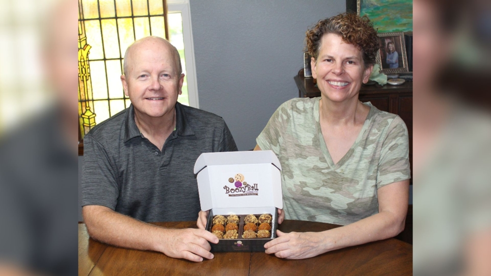 Kerry and David Christensen started the company in their New Braunfels home. (Courtesy Boozy Ball Cookies)